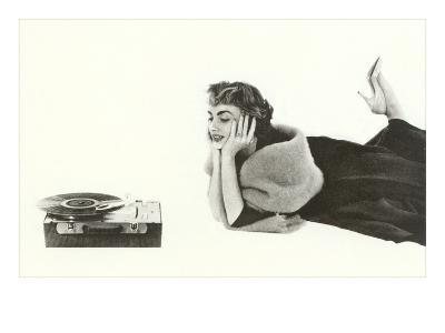 Heavily Browed Lady Listening to Record Player--Art Print