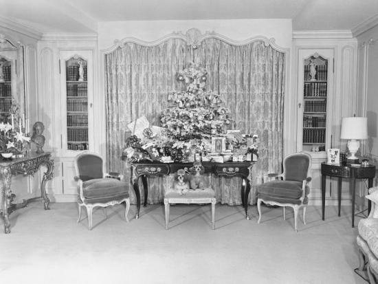 Heavily Decorated Christmas Tree Standing on Period Table-George Marks-Photographic Print