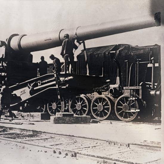 Heavy artillery on a train, c1914-c1918-Unknown-Photographic Print