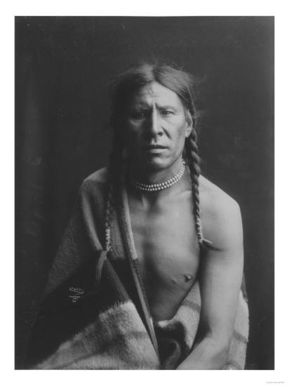 Heavy Shield Native American Indian Curtis Photograph-Lantern Press-Art Print