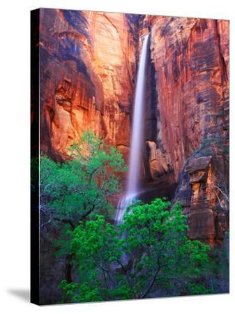Heavy Spring Run Off Creating a Seldom Seen Waterfall in Zion National Park-Keith Ladzinski-Stretched Canvas Print