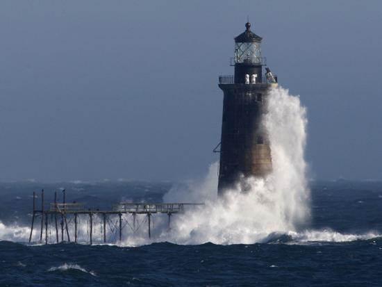 Heavy Surf Slams into the 72-Foot-Tall Ram Island Ledge Light--Photographic Print