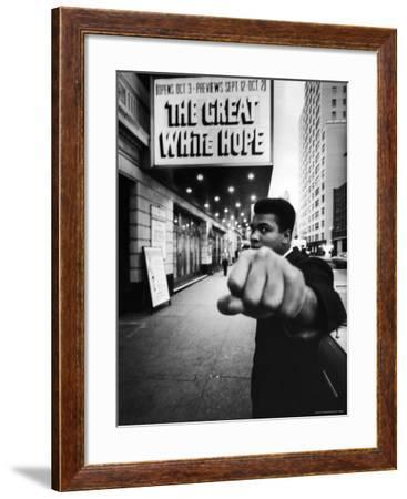 """Heavyweight Boxer Muhammad Ali Outside the Alvin Theater Where """"The Great White Hope"""" is Playing-Bob Gomel-Framed Premium Photographic Print"""
