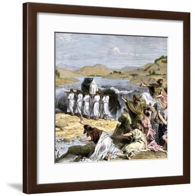 Hebrews Carrying the Ark of the Covenant across the Jordan River into the Promised Land--Framed Giclee Print