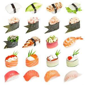 Sushi Set - Different Types Of Sushes Isolated On White Background by heckmannoleg