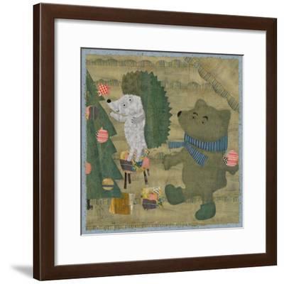 Hedgehog and Bear Dress up Christmas Tree-Dmitriip-Framed Premium Giclee Print