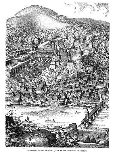 Heidelberg Castle and Town Viewed across the Neckar River, Germany, in 1620--Giclee Print