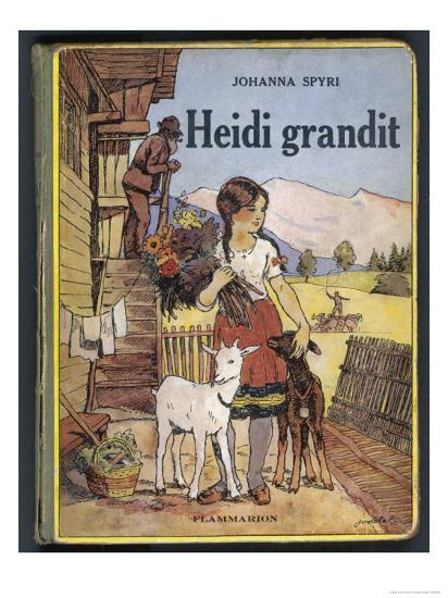 Heidi Holding a Bunch of Flowers and Petting Her Two Goats--Giclee Print