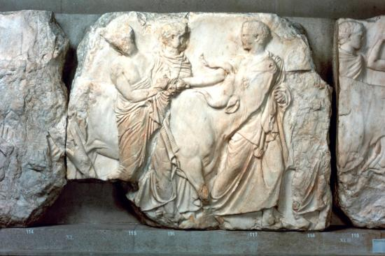 Heifers led to sacrifice, from the south frieze of the Parthenon, 447-432 BC. Artist: Unknown-Unknown-Giclee Print