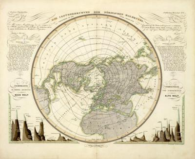 Die Isothermkurven Der Nordlichen Halbkugel, c.1838