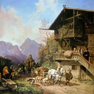Return from the Bearhunting, 1839 by Heinrich Bürkel