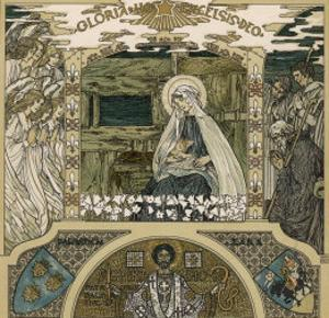 Mary and Jesus Watched by Angels on One Side Shepherds on the Other by Heinrich Lefler