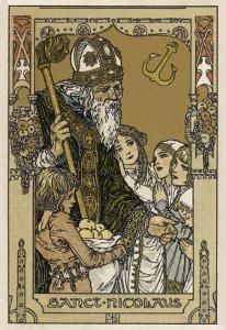 Saint Nicolas with Children, The Original Santa Claus by Heinrich Lefler