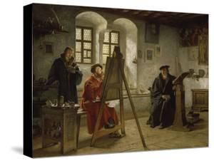 Cranach Painting Luther in the Wartburg Castle, about 1890 by Heinrich Stelzner