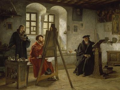 Cranach Painting Luther in the Wartburg Castle, about 1890