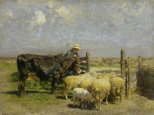 Im Schafspferch by Heinrich von Zügel