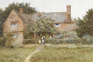 A Surrey Cottage with a Mother and Her Children (Watercolour with Scratching Out) by Helen Allingham