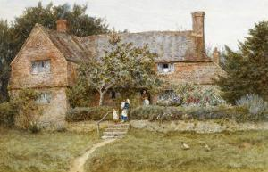 A Surrey Cottage with a Mother and Her Children by Helen Allingham