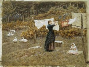 Hanging the Washing, a Beautiful Spring Morning by Helen Allingham