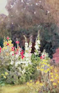 Hollyhocks by Helen Allingham