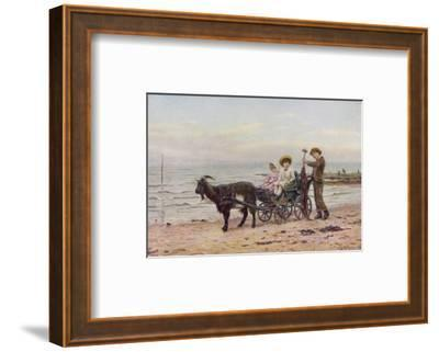 The Artist's Children in a Goat Carriage Ay Broadstairs Kent England