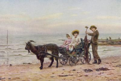The Artist's Children in a Goat Carriage Ay Broadstairs Kent England by Helen Allingham