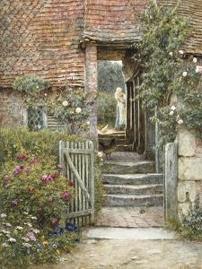 Under the Old Malthouse, Hambledon, Surrey (Watercolour with Scratching Out) by Helen Allingham