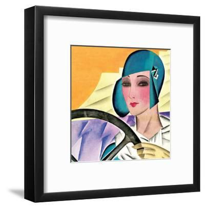 Art Deco Woman Driving in Green Hat