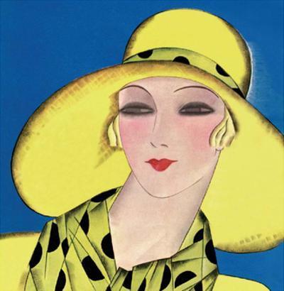 Art Deco Woman in Summer Yellow Hat