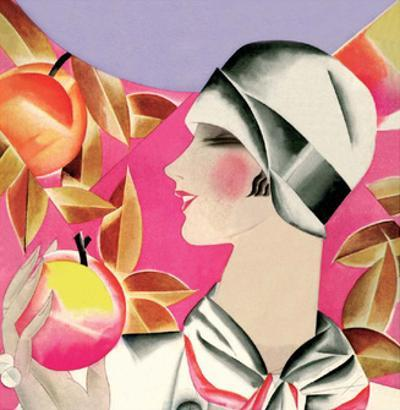 Art Deco Woman with Apples