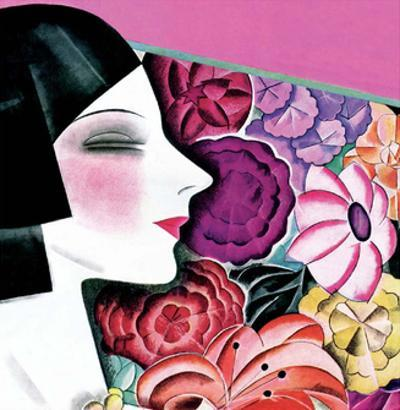 Art Deco Woman with Flower Background