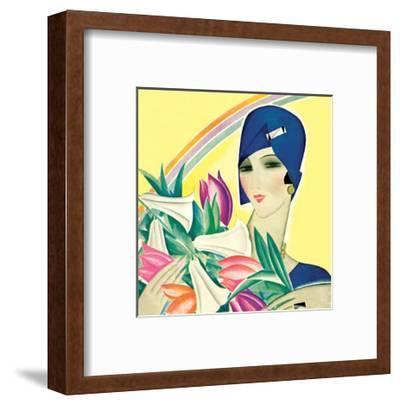 Art Deco Woman with Lilies
