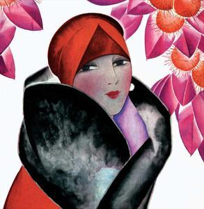 Art Deco Woman with Red Hat and Furs by Helen Dryden