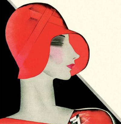 Art Deco Woman with Red Hat