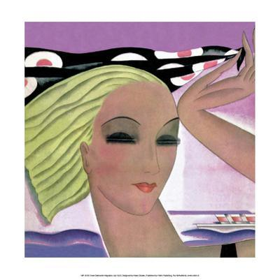 Art Deco Woman with Scarf in the Wind