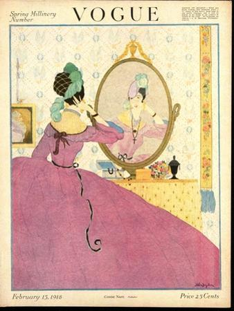 Vogue Cover - February 1918 by Helen Dryden