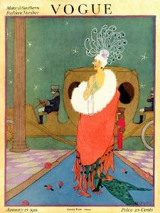 Vogue Cover - January 1918 by Helen Dryden