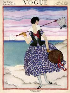 Vogue Cover - July 1921 by Helen Dryden