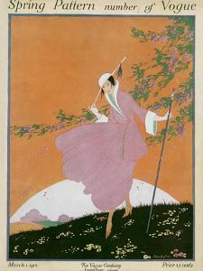 Vogue Cover - March 1916 by Helen Dryden