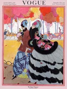 Vogue Cover - September 1921 - Autumn Stroll by Helen Dryden