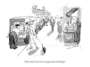"""I like what you've been saying about Lindbergh."" - New Yorker Cartoon by Helen E. Hokinson"