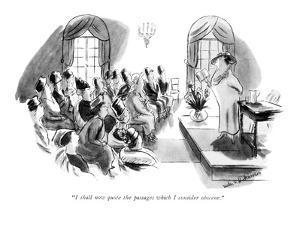 """I shall now quote the passages which I consider obscene."" - New Yorker Cartoon by Helen E. Hokinson"