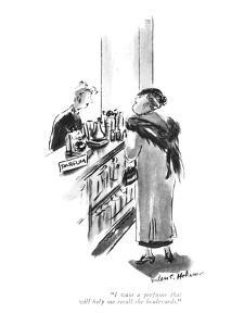 """I want a perfume that will help me recall the boulevards."" - New Yorker Cartoon by Helen E. Hokinson"