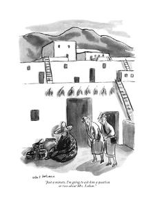 """Just a minute. I'm going to ask him a question or two about Mrs. Luhan."" - New Yorker Cartoon by Helen E. Hokinson"
