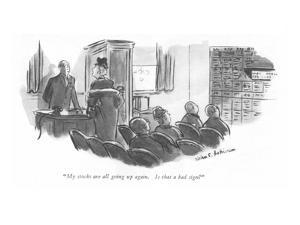 """My stocks are all going up again. Is that a bad sign?"" - New Yorker Cartoon by Helen E. Hokinson"