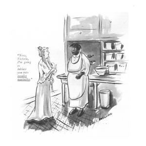 """Now, Victoria, I'm going to initiate you into moules marinière."" - New Yorker Cartoon by Helen E. Hokinson"