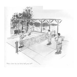 """Now where has our lucky ball gone to?"" - New Yorker Cartoon by Helen E. Hokinson"