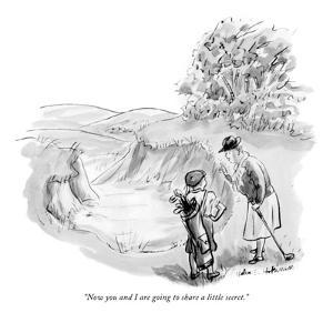 """Now you and I are going to share a little secret."" - New Yorker Cartoon by Helen E. Hokinson"