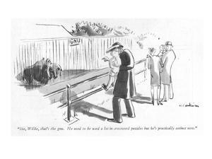 """See, Willie, that's the gnu. He used to be used a lot in crossword puzzle?"" - New Yorker Cartoon by Helen E. Hokinson"