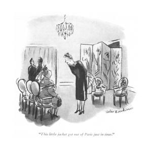 """This little jacket got out of Paris just in time."" - New Yorker Cartoon by Helen E. Hokinson"